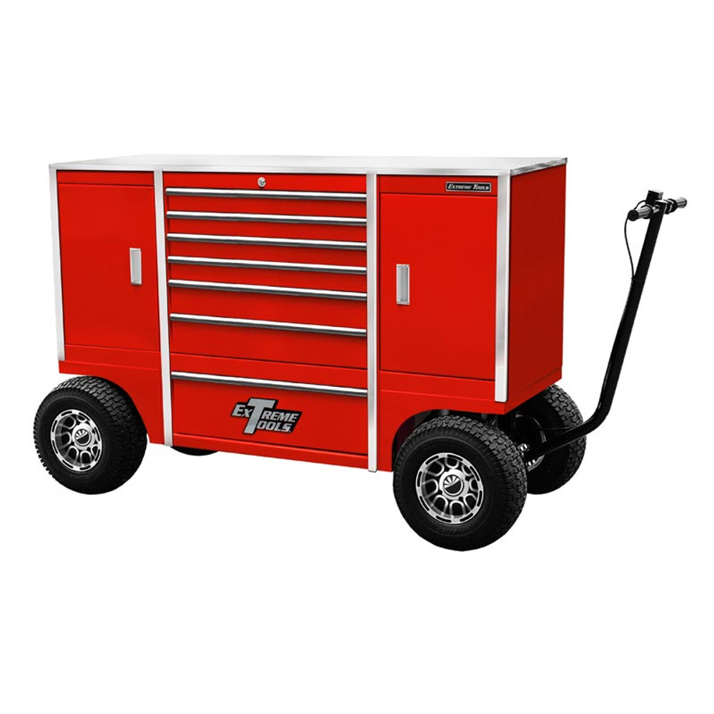 """Extreme Tools 70"""" Pit Box  with 7 Drawers & 2 Side Compartments - Red"""