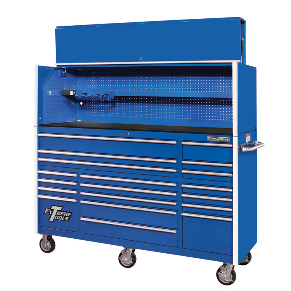 """Extreme Tools 72"""" RX Series 19-Drawer 25"""" Deep Roller Cabinet with Hutch - Blue"""