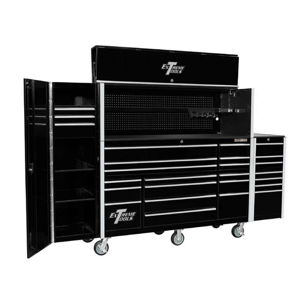 """Extreme Tools 72"""" RX Series 19-Drawer 25"""" Deep Roller Cabinet with Hutch and Side Boxes"""