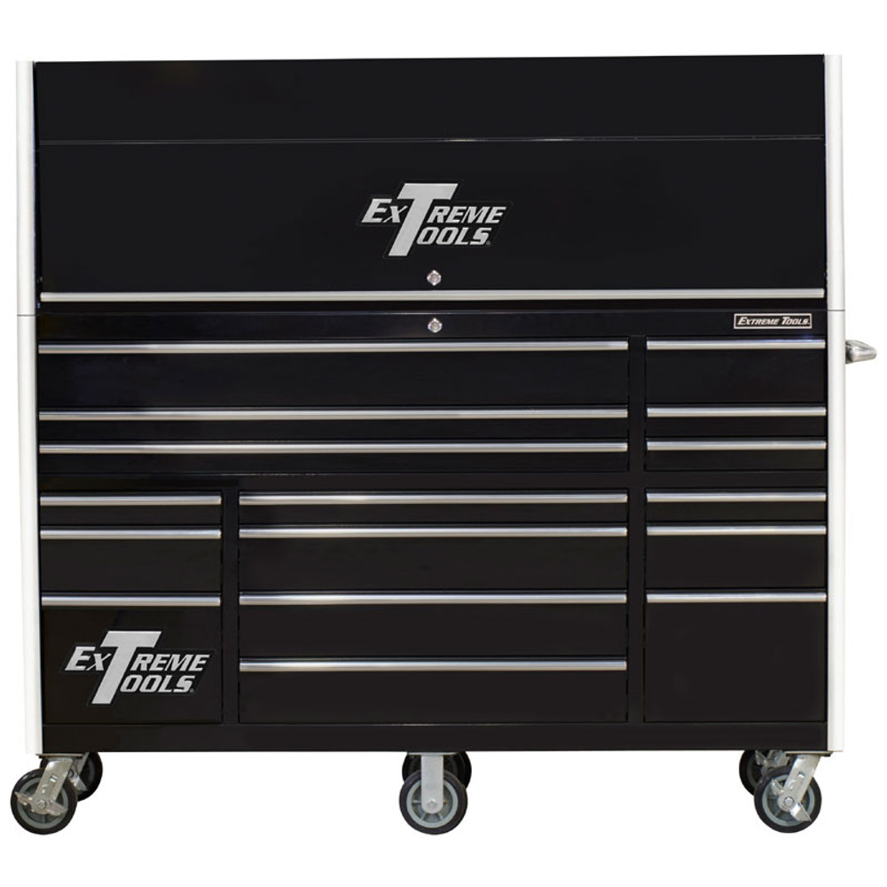 """Extreme Tools 72"""" RX Series 19-Drawer 25"""" Deep Roller Cabinet with Hutch - Black"""