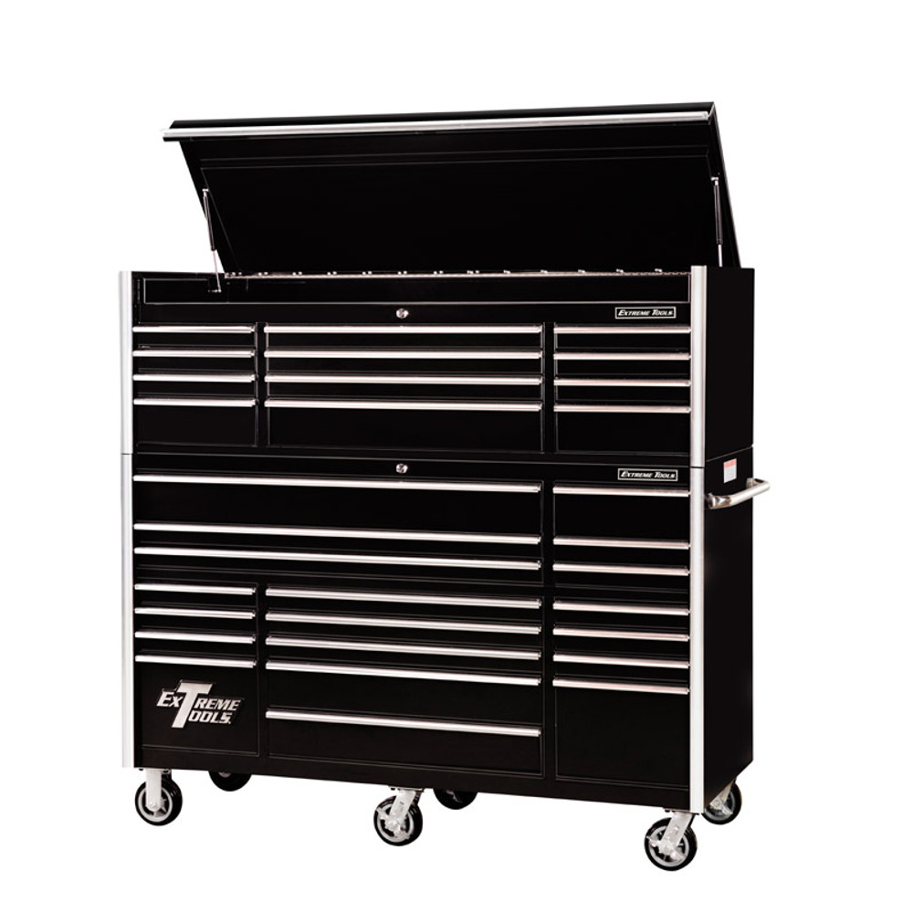 """Extreme Tools 72"""" RX Series 31-Drawer 25"""" Deep Roller Cabinet and Chest  Combo - Black"""