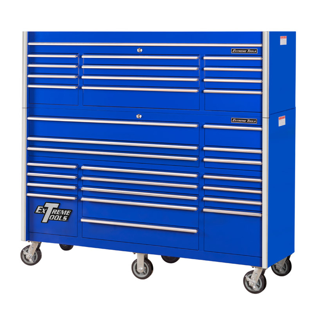 """Extreme Tools 72"""" RX Series 31-Drawer 25"""" Deep Roller Cabinet and Chest Combo - Blue"""