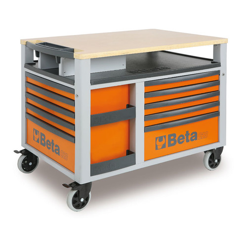 Beta Tools C28-0 SuperTank Trolley with Worktop and Ten Drawers - Orange