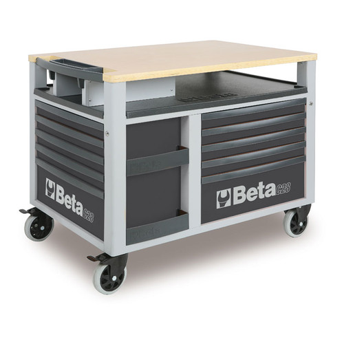 Beta Tools C28-G SuperTank Trolley with Worktop and Ten Drawers - Grey