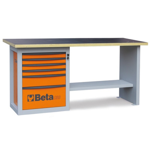 Beta Tools C59A-O Endurance Workbench with Six Drawer Cabinet - Orange