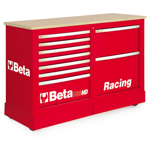 Beta Tools C39MD-R Special Mobile Roller Cabinet, Racing MD Type - Red