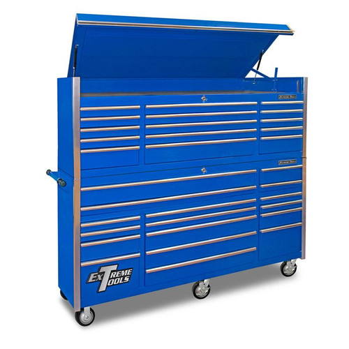 "Extreme Tools 72"" 17-Drawer Professional Roller Cabinet with Top Chest - Blue"