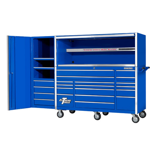 "Extreme Tools 72"" 17-Drawer Professional Roller Cabinet with Hutch and Side Cabinet - Blue"