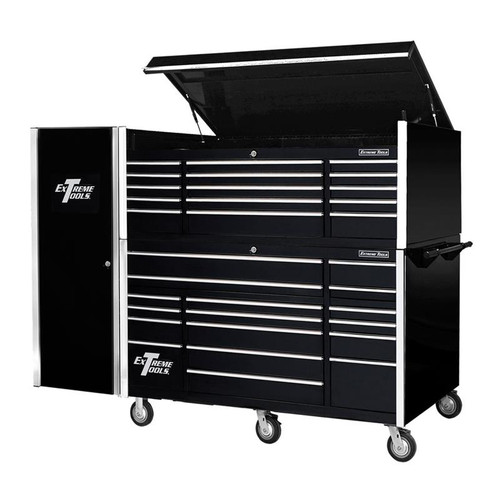 "Extreme Tools 72"" 17-Drawer Professional Roller Cabinet with Top Chest and Side Cabinet"