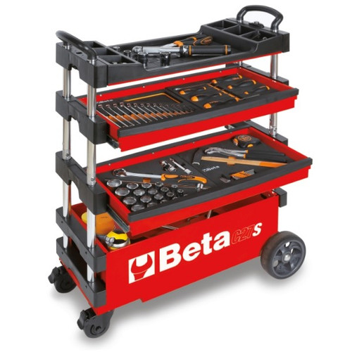 Beta Tools C27S-R Folding Tool Trolley - Red