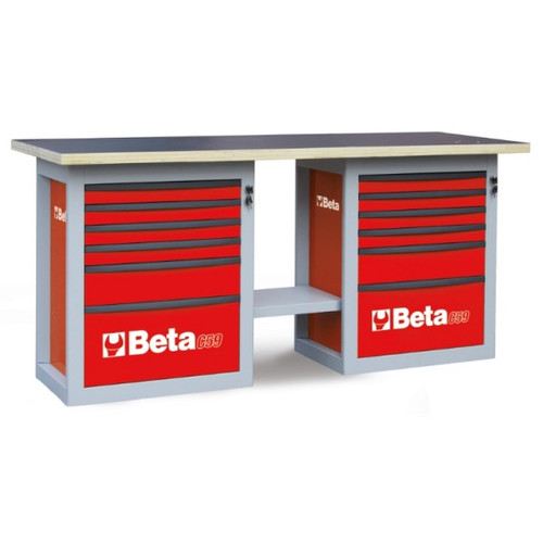 Beta Tools C59B-R Endurance Workbench with (2) Six Drawer Cabinets - Red