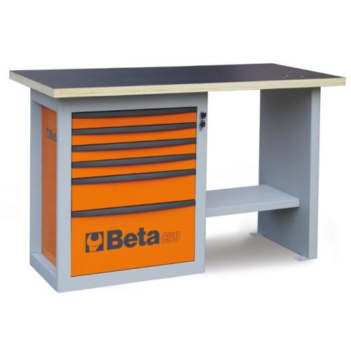 Beta Tools C59C-O Endurance Workbench with Six Drawer Cabinet (Short Model) - Orange