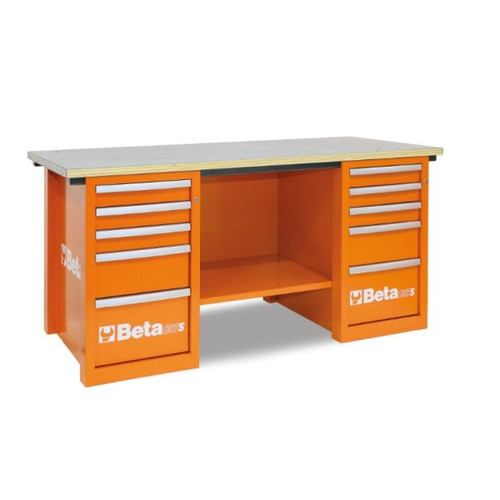 Beta Tools C57SC-O MasterCargo Workbench with (2) 5 Drawer Cabinets - Orange