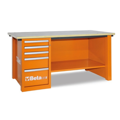 Beta Tools C57SD-O MasterCargo Workbench with 5 Drawer Cabinet - Orange