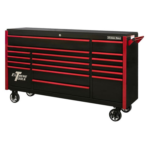"Extreme Tools 72"" DX Series 17-Drawer 21"" Deep Roller Cabinet - Black w/Red Drawer Pulls"