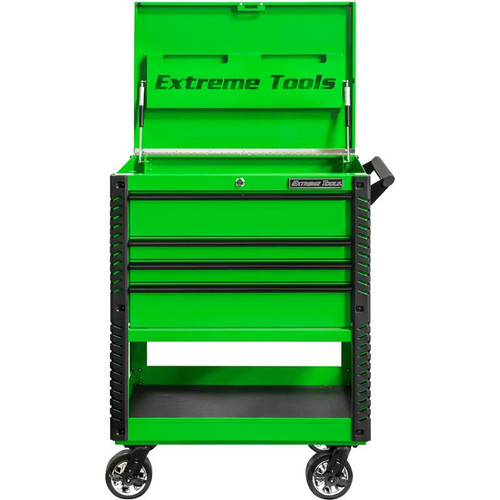 """Extreme Tools EX Series 33"""" 4-Drawer Deluxe Series Tool Cart - Green w/Black Drawer Pulls"""