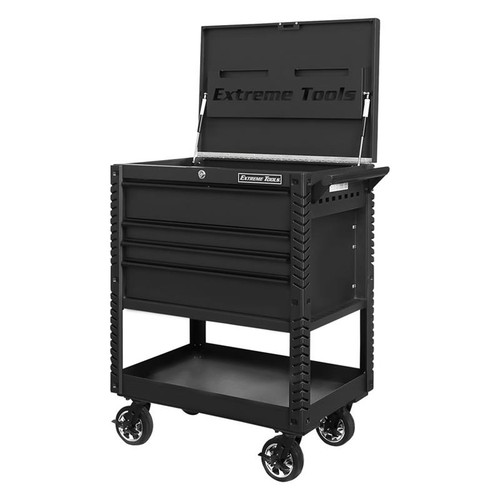 "Extreme Tools EX Series 33"" 4-Drawer Deluxe Series Tool Cart - Matte Black w/Black Drawer Pulls"