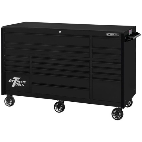 "Extreme Tools 72"" RX Series 19-Drawer 30"" Deep Roller Cabinet - Matte Black w/Black Drawer Pulls"
