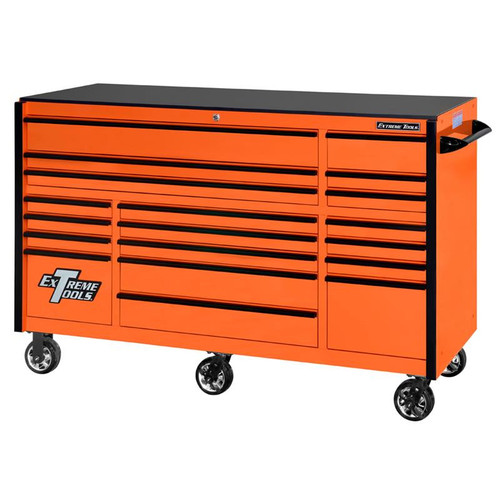 "Extreme Tools 72"" RX Series 19-Drawer 30"" Deep Roller Cabinet - Orange w/Black Drawer Pulls"