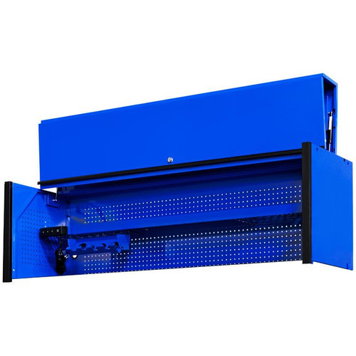 "Extreme Tools DX Series 72"" x 21"" Deep Triple Bank Hutch - Blue w/Black Drawer Pulls"
