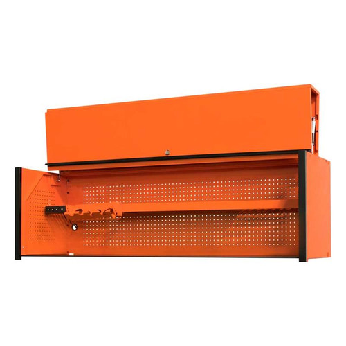 "Extreme Tools DX Series 72"" x 21"" Deep Triple Bank Hutch - Orange w/Black Drawer Pulls"