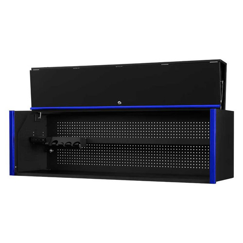 "Extreme Tools DX Series 72"" x 21"" Deep Triple Bank Hutch - Black w/Blue Drawer Pulls"