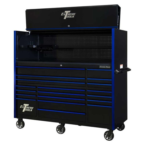 "Extreme Tools 72"" RX Series 19-Drawer 30"" Deep Roller Cabinet w/Hutch - Black w/Blue Drawer Pulls"