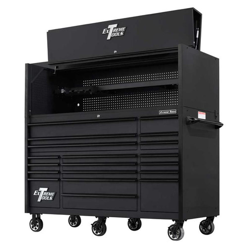 "Extreme Tools 72"" RX Series 19-Drawer 30"" Deep Roller Cabinet w/Hutch - Matte Black w/Black Drawer Pulls"