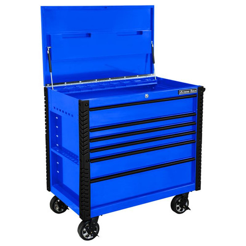 "Extreme Tools EX Series 41"" 6 Drawer Tool Cart with Bumpers - Blue w/Black Drawer Pulls"