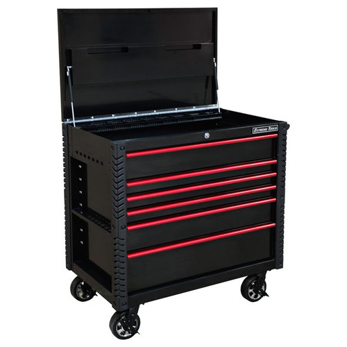 "Extreme Tools EX Series 41"" 6 Drawer Tool Cart with Bumpers - Black w/Red Drawer Pulls"