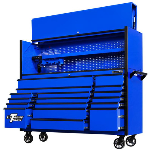 "Extreme Tools 72"" DX Series 17-Drawer 21"" Deep Roller Cabinet w/Hutch - Blue w/Black Drawer Pulls"