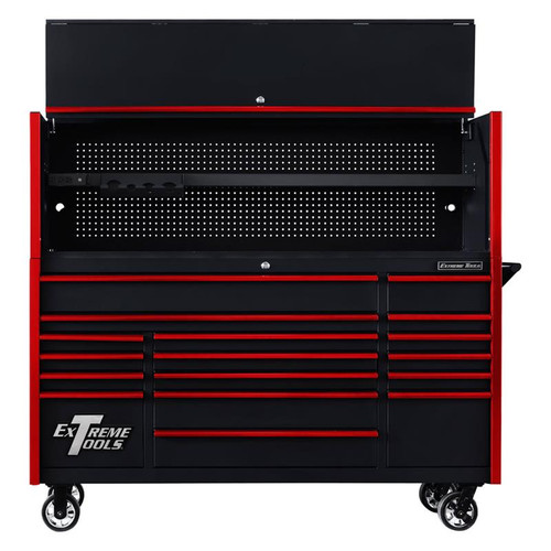"Extreme Tools 72"" DX Series 17-Drawer 21"" Deep Roller Cabinet w/Hutch - Black w/Red Drawer Pulls"