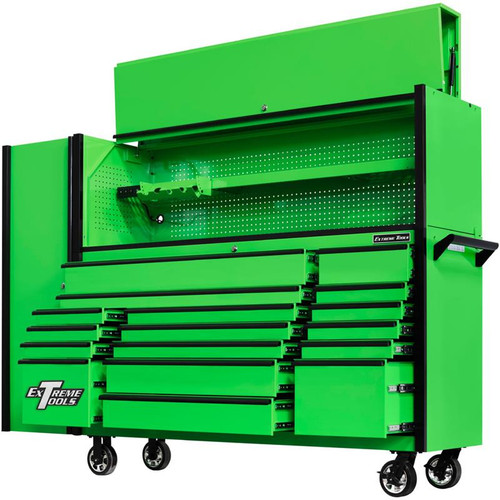 "Extreme Tools 72"" DX Series 17-Drawer 21"" Deep Roller Cabinet w/Hutch and Side Locker - Green w/Black Drawer Pulls"