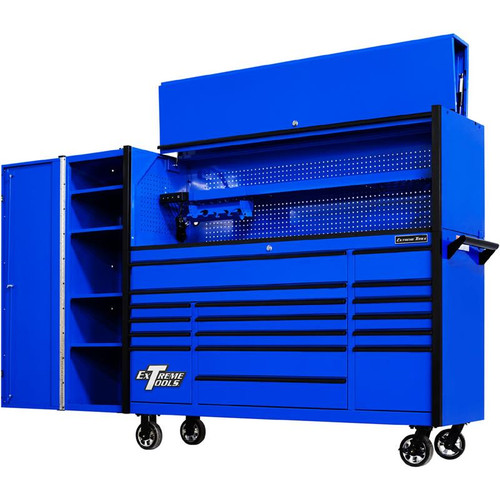 "Extreme Tools 72"" DX Series 17-Drawer 21"" Deep Roller Cabinet w/Hutch and Side Locker - Blue w/Black Drawer Pulls"