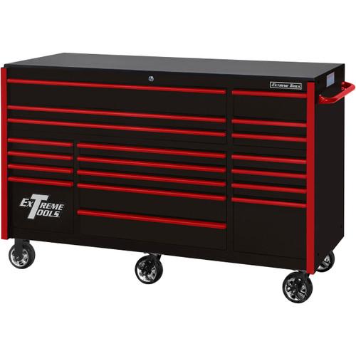 "Extreme Tools 72"" RX Series 19-Drawer 25"" Deep Roller Cabinet, 150 lb Slides - Black w/Red Handles"