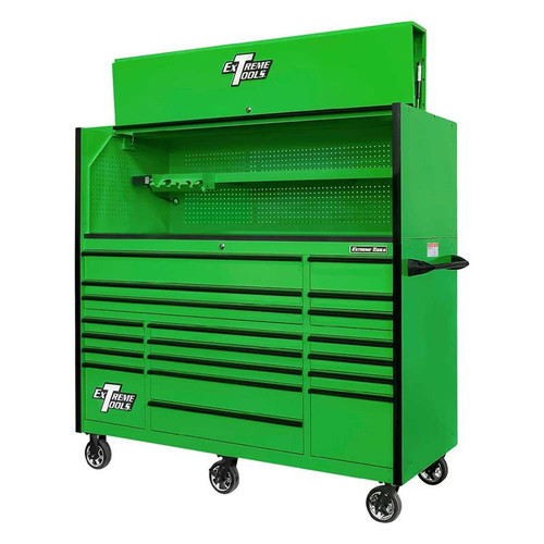 """Extreme Tools 72"""" RX Series 19-Drawer 25"""" Deep Roller Cabinet w/Hutch, 150 lb Slides - Green w/Black Handles"""