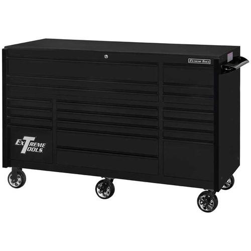 """Extreme Tools 72"""" RX Series 19-Drawer 25"""" Deep Roller Cabinet, 150 lb Slides - Matte Black w/Black Handles"""