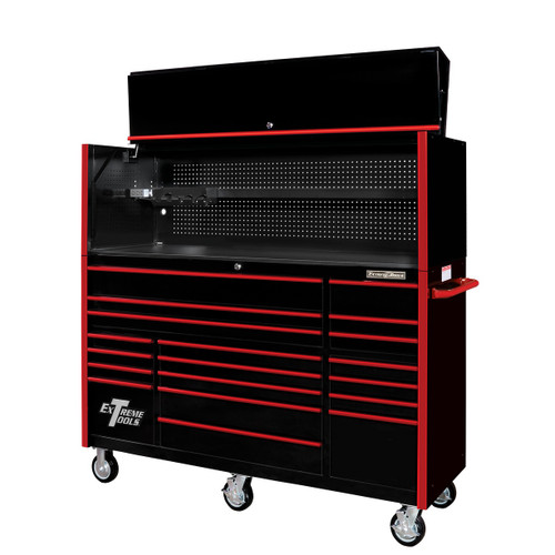 """Extreme Tools 72"""" RX Series 19-Drawer 25"""" Deep Roller Cabinet w/Hutch, 150 lb Slides - Black w/Red Handles"""