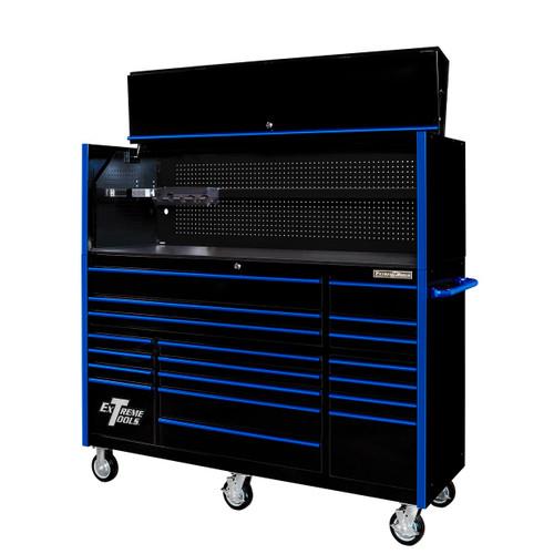 "Extreme Tools 72"" RX Series 19-Drawer 25"" Deep Roller Cabinet w/Hutch, 150 lb Slides - Black w/Blue Handles"