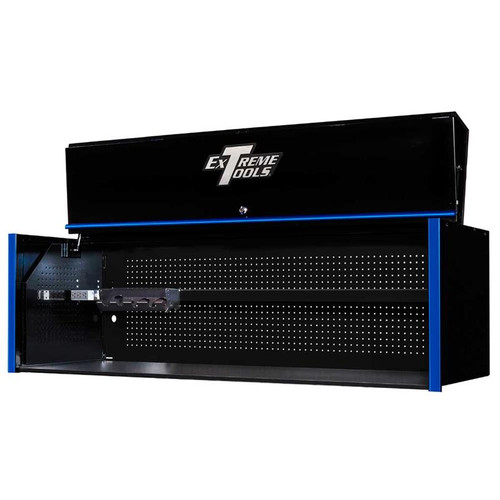 "Extreme Tools RX Series 72"" x 25"" Deep Triple Bank Hutch - Black w/Blue Handle"