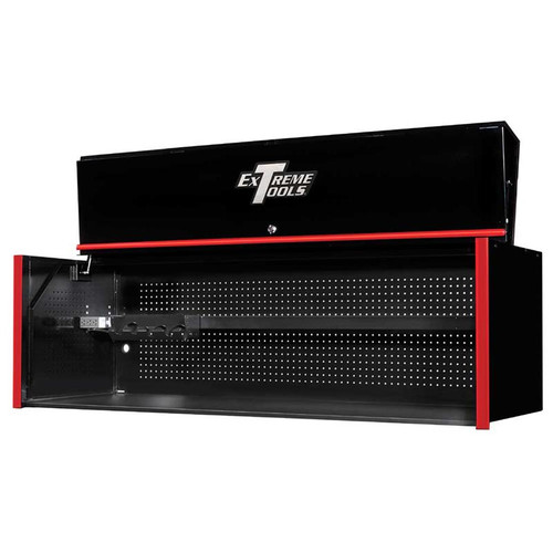 "Extreme Tools RX Series 72"" x 25"" Deep Triple Bank Hutch - Black w/Red Handle"