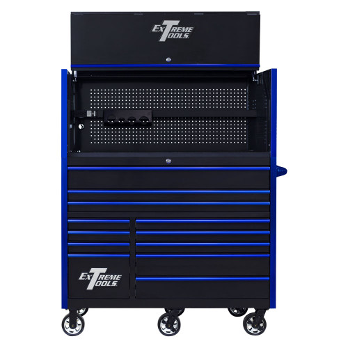 "Extreme Tools RX Series 55"" 12-Drawer Roller with Hutch - Black w/Blue Drawer Pulls"