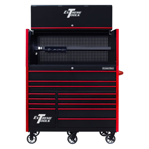 "Extreme Tools RX Series 55"" 12-Drawer Roller with Hutch - Black w/Red Drawer Pulls"