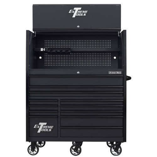 "Extreme Tools RX Series 55"" 12-Drawer Roller with Hutch - Matte Black w/Black Drawer Pulls"