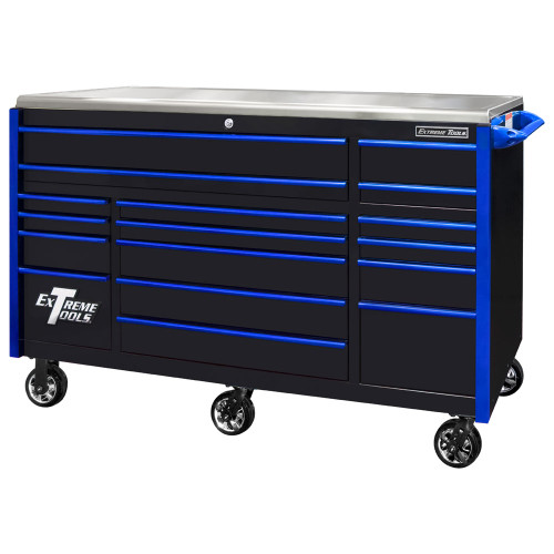 "Extreme Tools EXQ Series 72"" 17-Drawer Professional Triple Bank Roller - Black w/Blue Drawer Pulls"