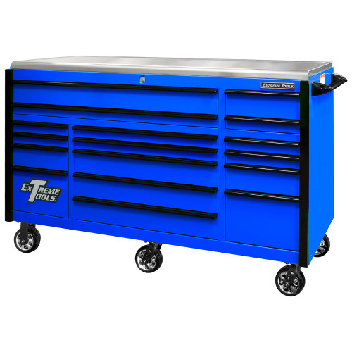 "Extreme Tools EXQ Series 72"" 17-Drawer Professional Triple Bank Roller - Blue w/Black Drawer Pulls"