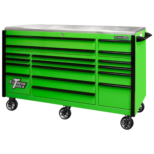 "Extreme Tools EXQ Series 72"" 17-Drawer Professional Triple Bank Roller - Green w/Black Drawer Pulls"