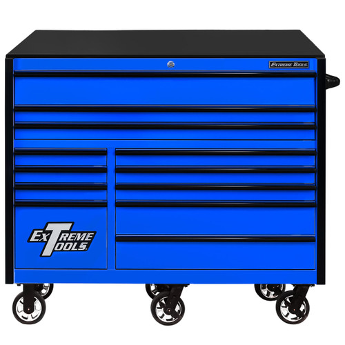 "Extreme Tools RX Series 55"" 12-Drawer Roller  - Blue w/Black Drawer Pulls"