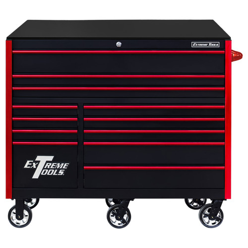 """Extreme Tools RX Series 55"""" 12-Drawer Roller  - Black w/Red Drawer Pulls"""