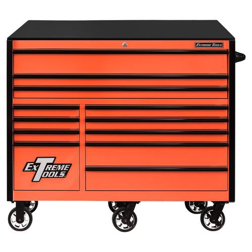 """Extreme Tools RX Series 55"""" 12-Drawer Roller  - Orange w/Black Drawer Pulls"""